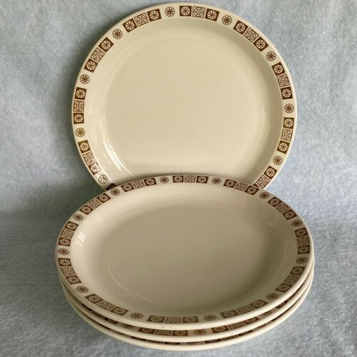 "FOUR Buffalo China Brown Atomic Starburst Oakbrooke 10"""" Dinner Ware Plate"