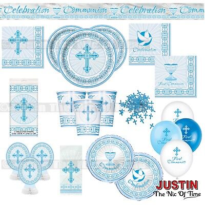 Communion Tableware (CHRISTENING FIRST COMMUNION Holy Blue Cross Boy Party Tableware)