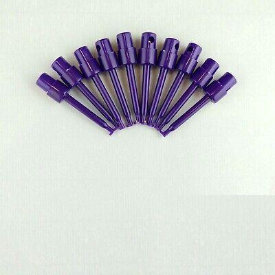 10x Purple 2.3 Test Clip Smd Grabber Ic Hook Multimeter Probe 5.7cm Usa