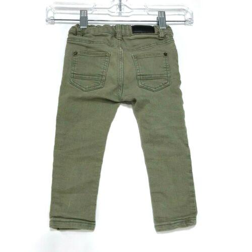 Zara Baby Boy Olive Green Skinny Jeans Sz 12 18 Months 86cm Adjustable Waist
