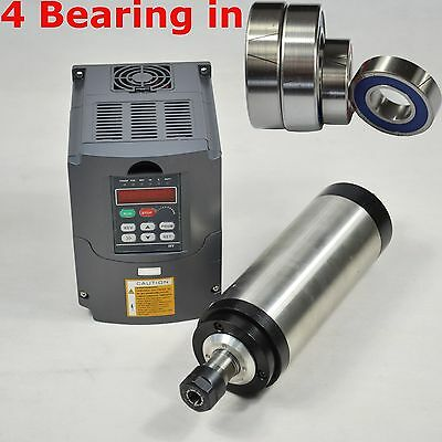 Four Bearing 2.2kw Water Cooled Spindle Motor Er20 Inverter Vfd Frequency Drive