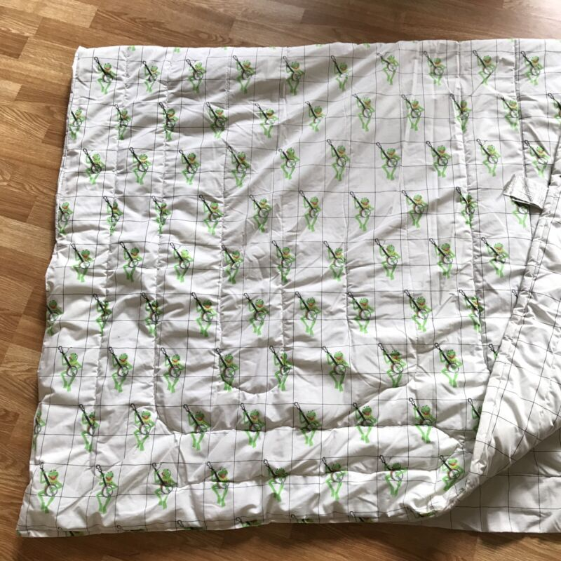 VTG KERMIT the FROG Playing Banjo TWIN Size Comforter Clean Some Quilting Undone
