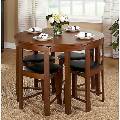Modern 5pc Round Dining Table Set Kitchen Dinette Chairs Breakfast Bar Nook New