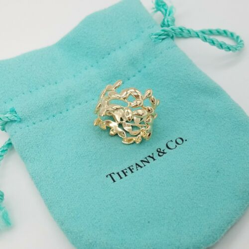 Tiffany & Co 18k Paloma Picasso Olive Leaf Yellow Gold Ring Size 6.5
