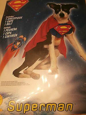 "Superman DC Comics Small  Dog Costume 10"" to 12"" Inches Neck to Tail NEW Pet"