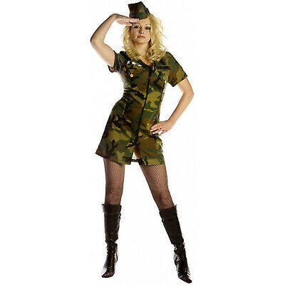 Military Dress Up Costumes (Adult Women's Military Army Solidier Halloween Costume Camo Dress Hat S M L)