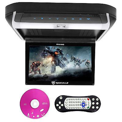 "Rockville RVD10HD-BK 10.1"" Flip Down Monitor DVD Player, HDMI, USB, Games, LED"