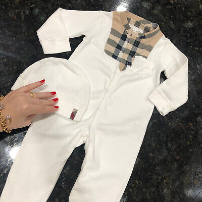 12 Months (9m +) Authentic Burberry Baby Boy Girl Coverall Hat Bodysuit Check 1Y