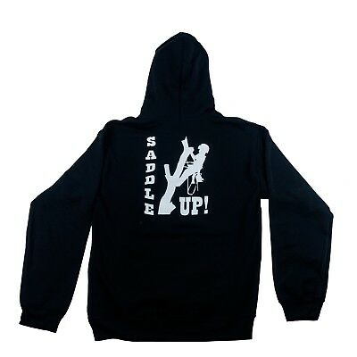 Tree Climbers Black Hooded Sweatshirt W Saddle Up Graphic On Backmedium