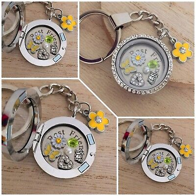 Personalised memory locket Keyring Necklace - Xmas/Birthday Gift for Best (Personalized Best Friend Lockets)