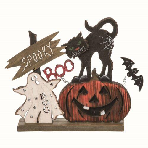 "Halloween Table Top Wood 12.25"" x  9.5"" Spooky Kitty /Bat/ Pumpkin Decor 6000"