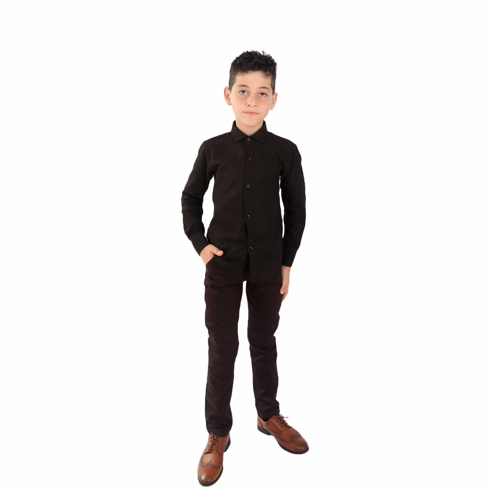 Boys Linen Black Shirts Kids Summer Long Sleeve Shirts Roll Up Sleeve Boy Shirt