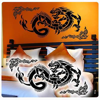 Dragon Drache Drachen Wandtattoo Asia Tribal Wandaufkleber Tribals W3066