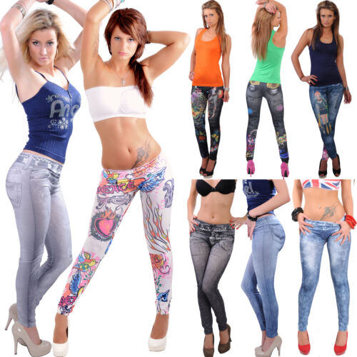 LEGGINS-Hose-JEANS-Destroyed-Look-Jeansleggins-Leggings-Jeggings-Optik-Washed