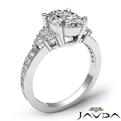 Shared Prong 3 Stone Oval Cut Diamond Engagement Ring GIA Certified H VS2 1.5Ct 1