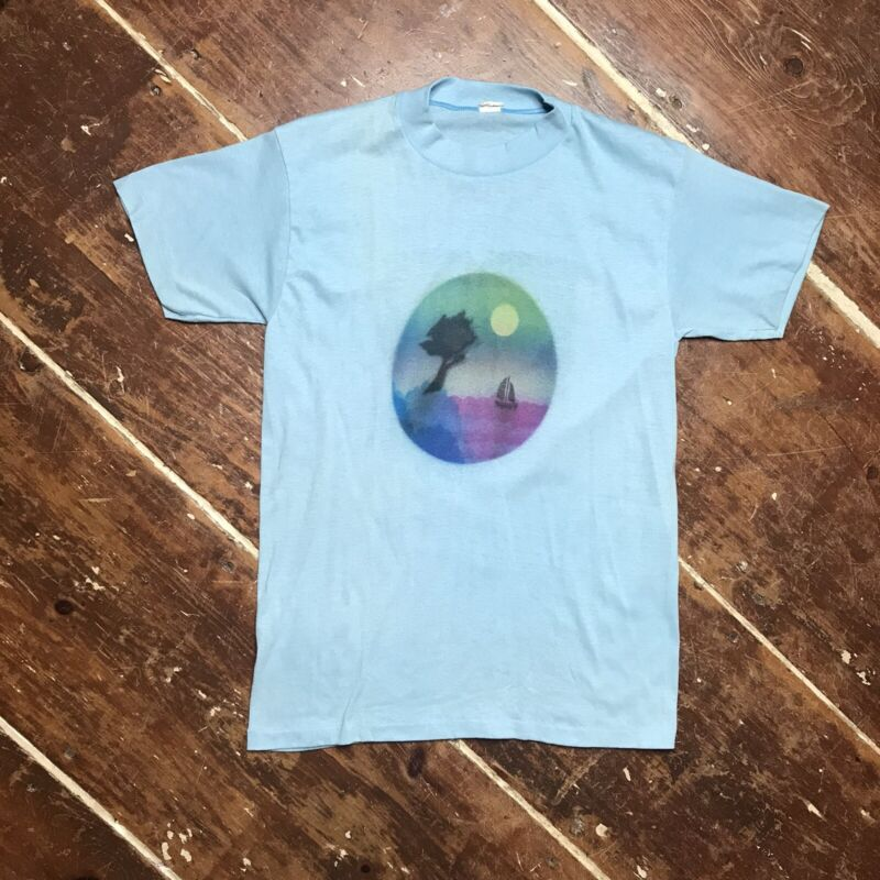 Vintage 70s Airbrushed Sailboat Sunset T-Shirt Adult S/M Sportswear 50/50