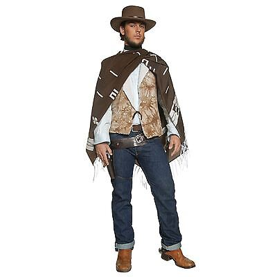 Mens Authentic Cowboy Western Film Wandering Gunman Fancy Dress Clint Costume