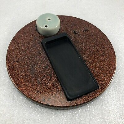 Japanese Round Lacquer Wakasa Calligraphy Ink Stone Plate Tray For Part