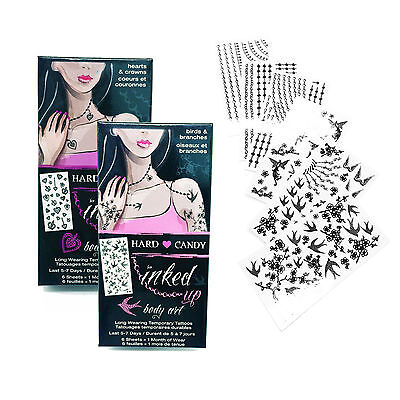 Hard Candy Inked Up Body Art Long Wearing Temporary Tattoos Birds Hearts LOT 2