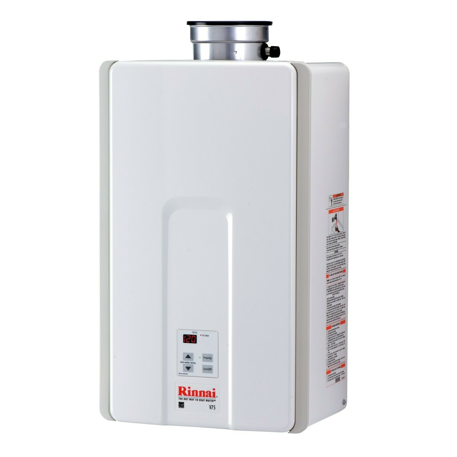 Rinnai V75IN 7.5 GPM Indoor Low NOx Tankless Natural Gas Wat