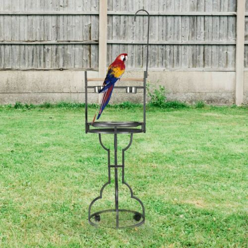 "72"" Antique Bird Stand Perch Parrot Playground Birds Play W/ Bowl & Wheels Metal"