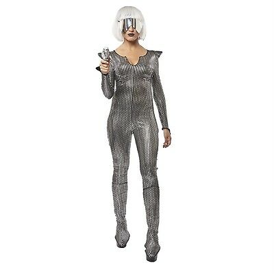 Galaxy Space Girl Sci-Fi Gaga Alien Halloween Costume Silver Jumpsuit Women's (Sci Fi Halloween)