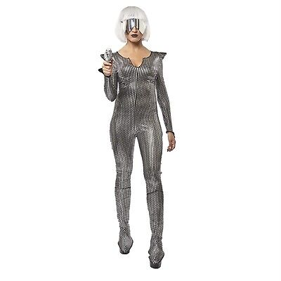 Alien Girl Costume (Galaxy Space Girl Sci-Fi Gaga Alien Halloween Costume Silver Jumpsuit)