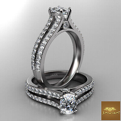 Cushion Diamond Engagement GIA H VS2 18k White Gold Split Shank Set Ring 1.15Ct
