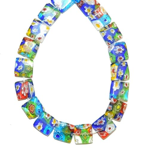 "G3748 Mosaic Multi-Color Flower 10mm Flat Square Millefiori Glass Beads 15"""