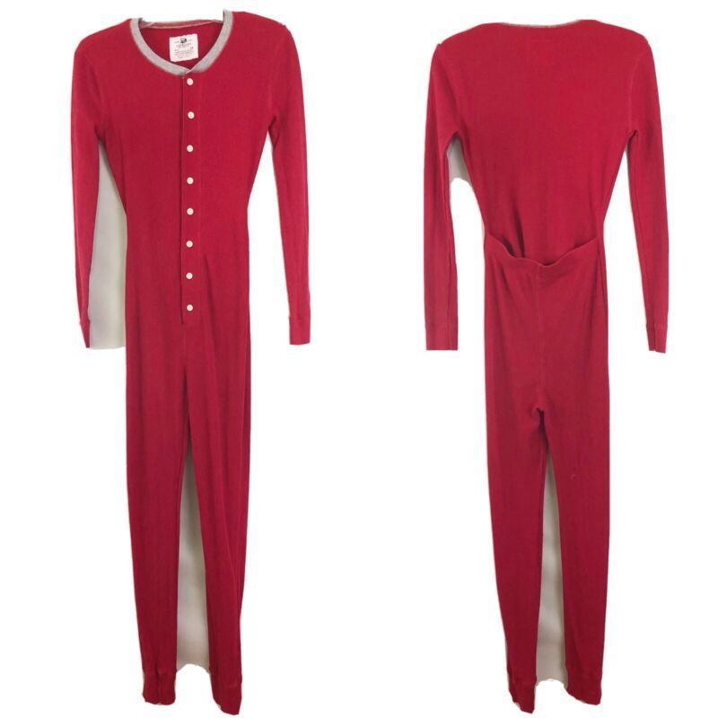 J Crew Cuts One Piece Thermal Red Pajamas Kids Sz 14
