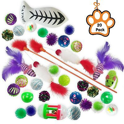 Kleeger 20-Pack Assorted Cat Toys Collection Play Set – Mice, Feathers, Crink...