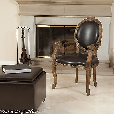 French Vintage Design Weathered Wood Espresso Leather Dining / Side Armchair