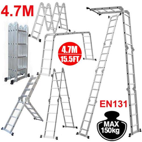 4,7 Meter Alu Teleskopleiter Klappleiter Stehleiter Anlegeleiter Mehrzweckleiter