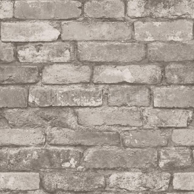 New Fine Decor Distinctive Natural Rustic Brick Wallpaper Silver / Grey FD31286