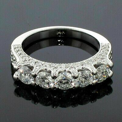 2.50CT Tw 5-Stone Diamante Incrustado Aniversario Boda Anillo En 14k Oro Blanco