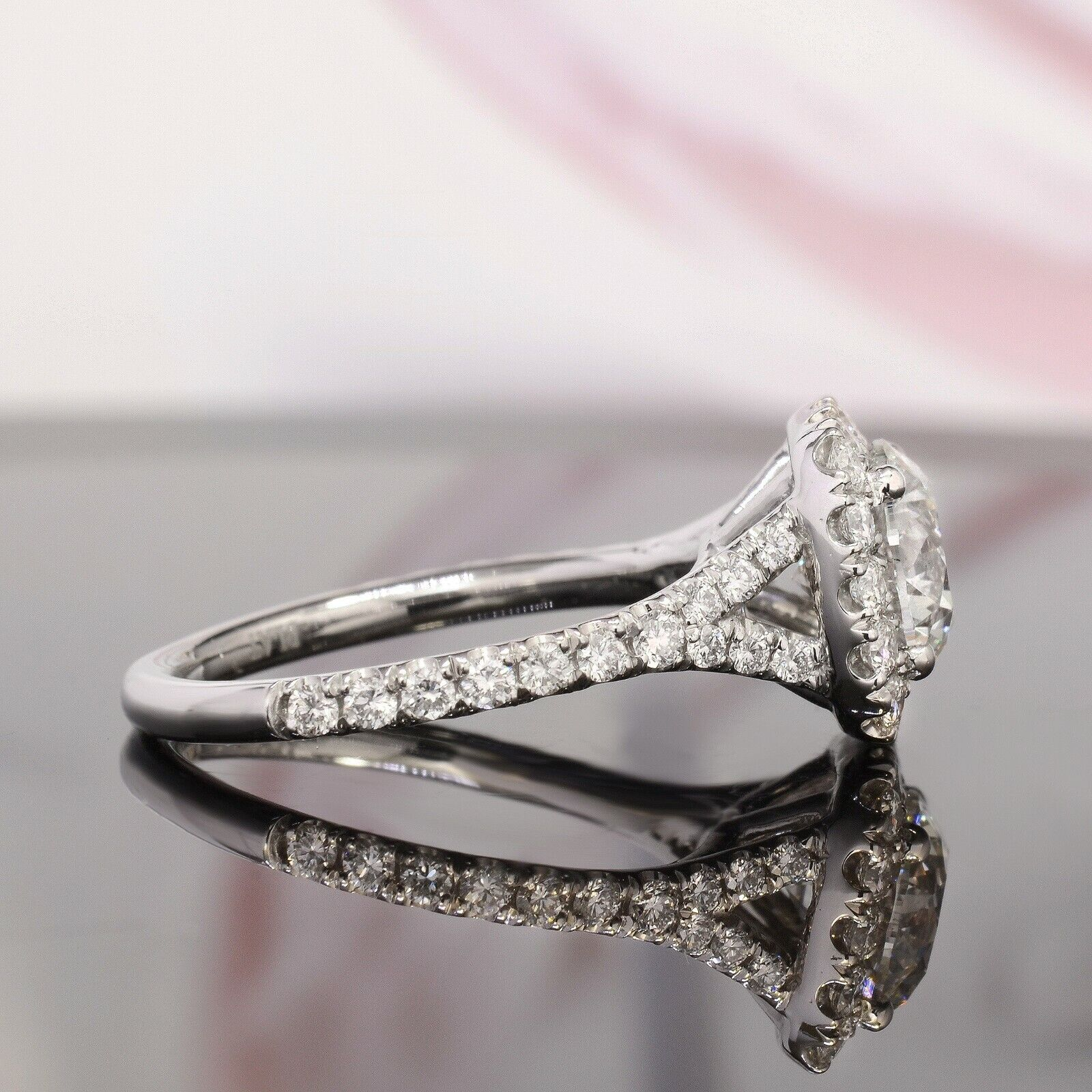 1.50CT Natural Round Cut Halo Baby Split Shank Pave Diamond Engagement Ring  GIA 2
