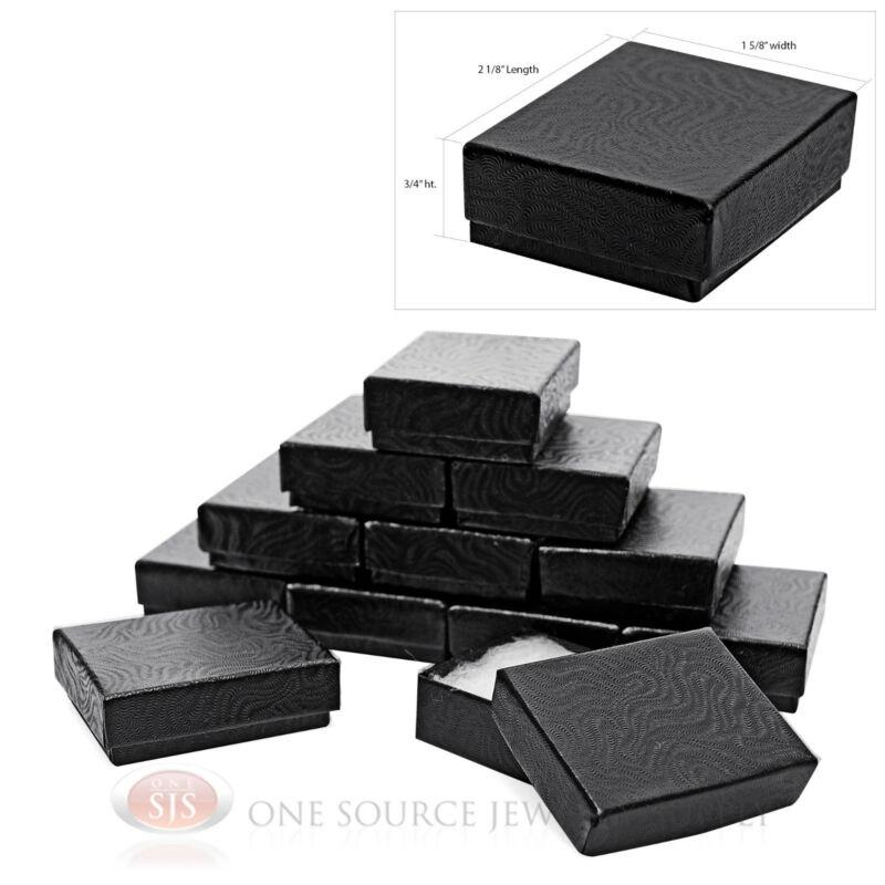 "(12) Black Swirl 2 1/8"" X 1 5/8"" Cotton Filled Jewelry Gift Boxes Bracelet"