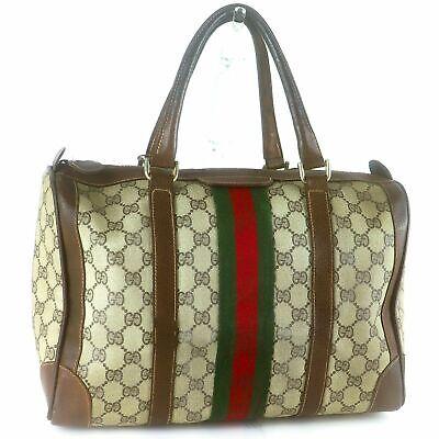 GUCCI GG Pattern PVC Canvas Sherry Webbing Boston Hand Bag Vintage Beige Brown