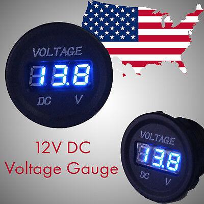 12v DC Volt meter waterproof digital LED BLUE