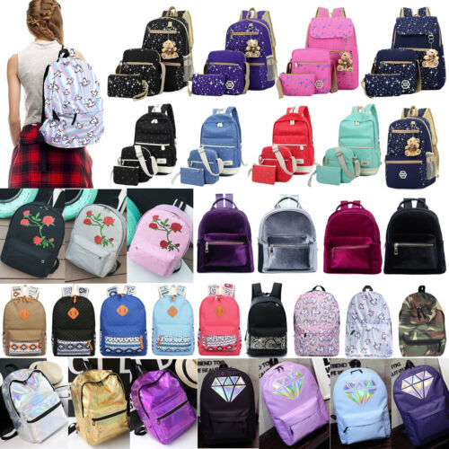 Womens Canvas Backpack Shoulder Bag College School Girls Ruc