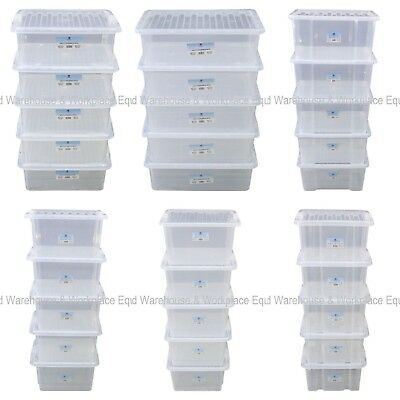 Pack Of 5 x Clear Plastic Storage Box Boxes With Lids Removals House Home Garage
