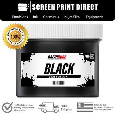 Black - Screen Printing Plastisol Ink - Low Temp Cure 270f - 8oz