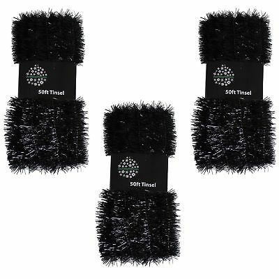 Christmas Tree 3 Packs 50ft x 3cm (150ft) Tinsel GREAT VALUE - Black](Black Tinsel)