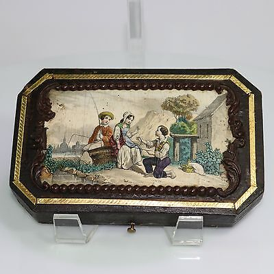 Antique French Sewing Etui Case 19th Century Lithograph Lid Paper Velvet Inside