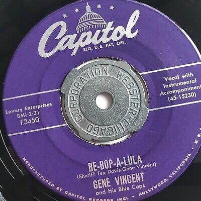 Gene Vincent, Capitol 45 1956 Be-Bop-A-Lula Rare Large Capitol Logo NM - (Gene Vincent Be Bop A Lula 1956)