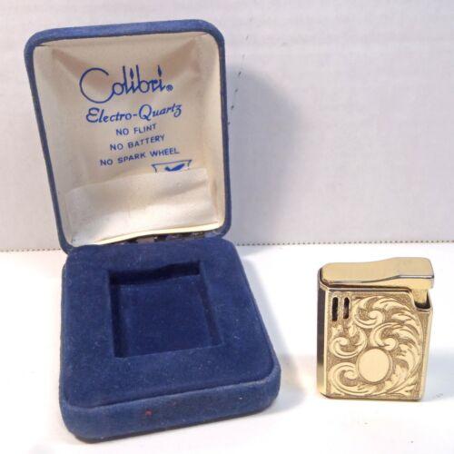 Colibri Electro-Quartz Golden Flint Lighter in blue velvet case Near Mint NOS