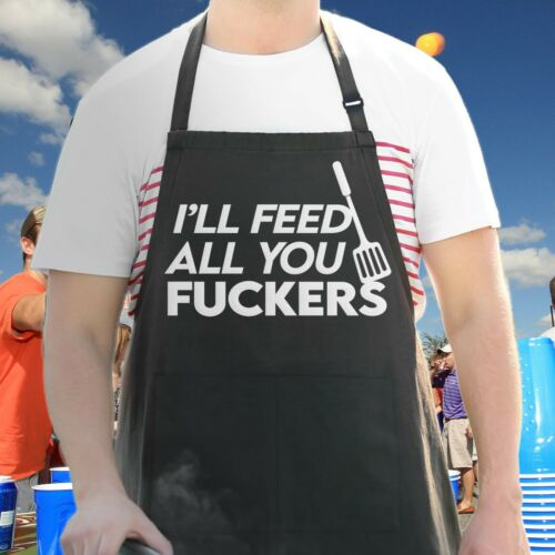 Funny Apron For Men, Ill Feed All You, Guys Gift BBQ Cooking Grill Aprons