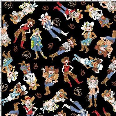 Whoa Girl Cowgirl Fabric - Tossed Ladies Black - Loralie YARD](Girl Cowgirl)