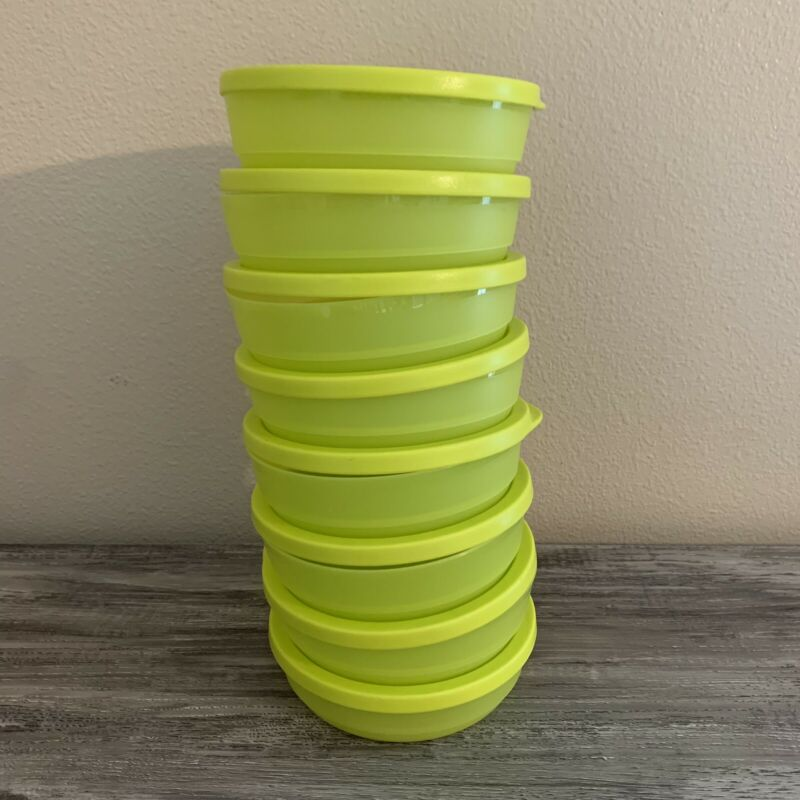 Tupperware Set of 8 Bright Green Bowls with 8 Lids 200mL 3/4 c. 8032A 7915A