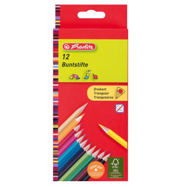 Herlitz Dreikantbuntstifte 12er Pack lackiert Farbstifte Malstifte